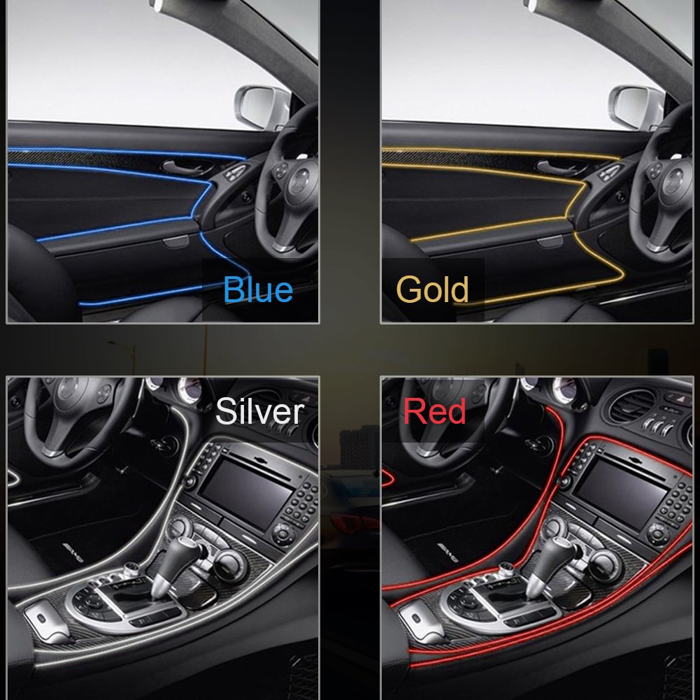 Qiilu Car Interior Moulding Strips Door Dashboard Air Vent Steering-wheel Flexible Decor Line Sliver