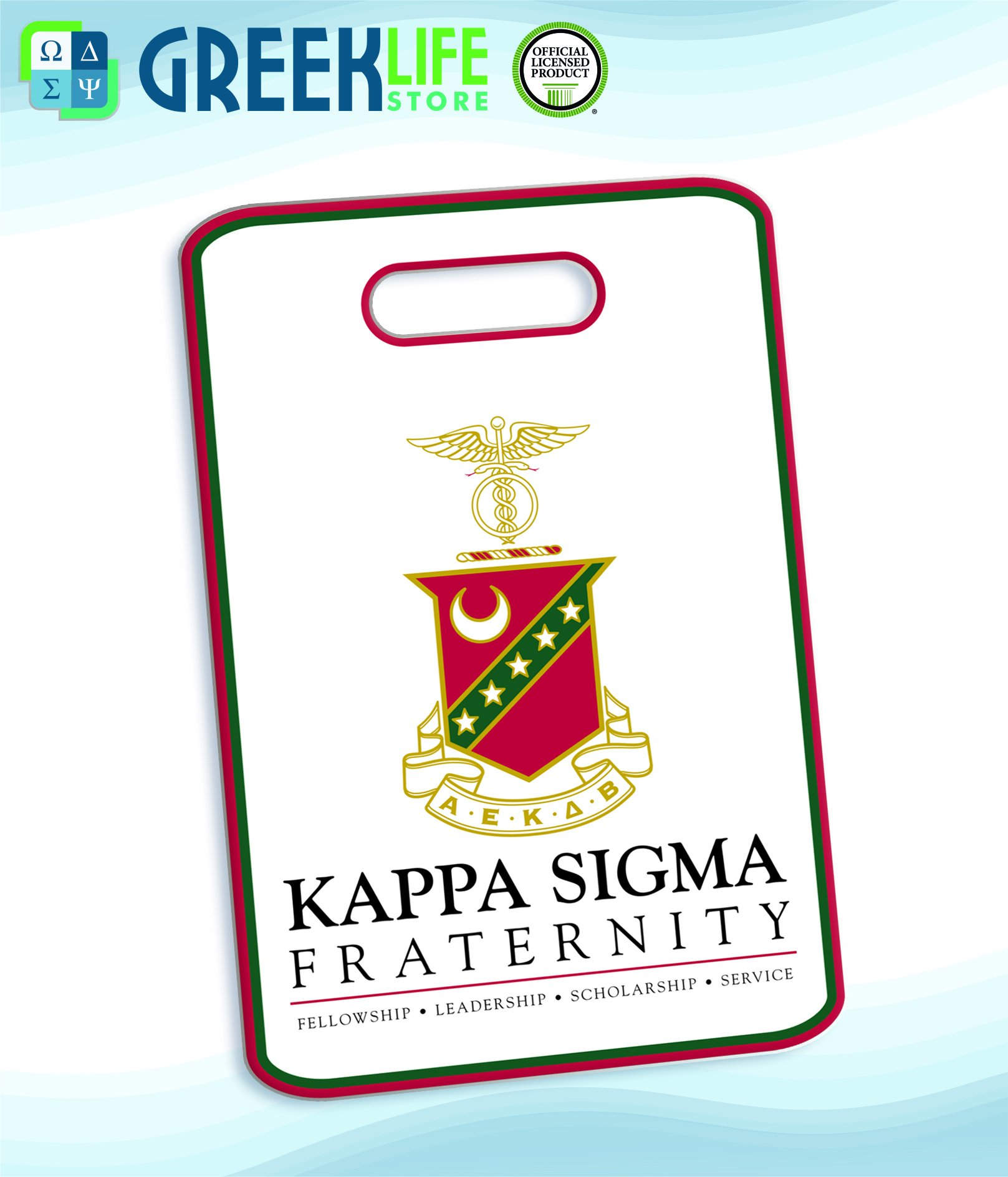 Kappa Sigma Coat of Arms Licensed Greek Life Bag Tag (personalized with your information)