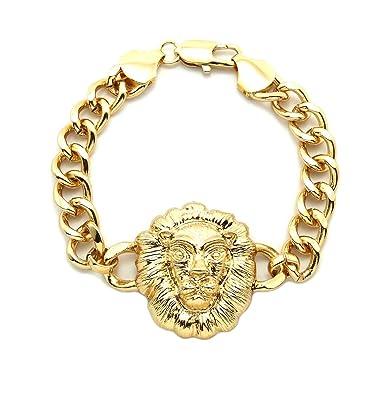 16422aef7 Amazon.com: Lion Head Charm Celebrity Style Chain Link Bracelet ...