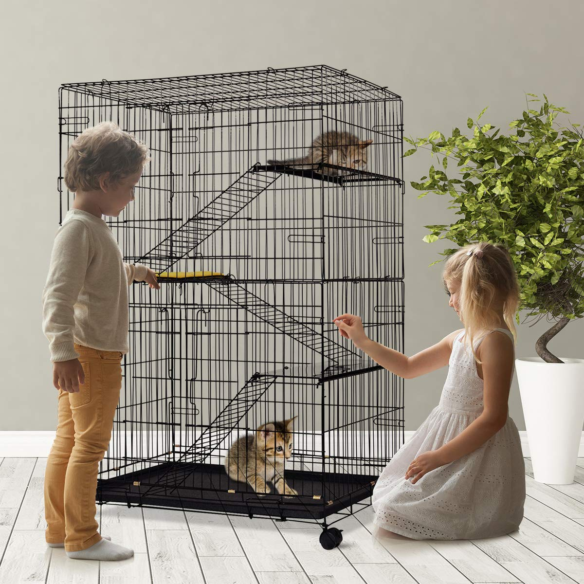 Giantex 4-Tier Cat Playpen Cat Cage with 3 Climbing Ladders & 3 Rest Benches & Cushion (4-Tier) by Giantex