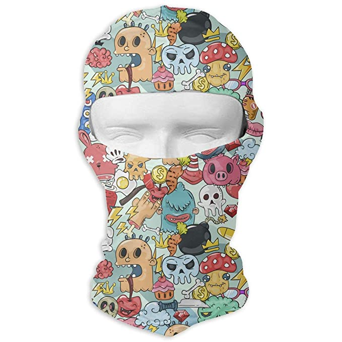 7ac198d498275 Graffiti Bizarre Characters Men Women Balaclava Neck Hood Full Face ...