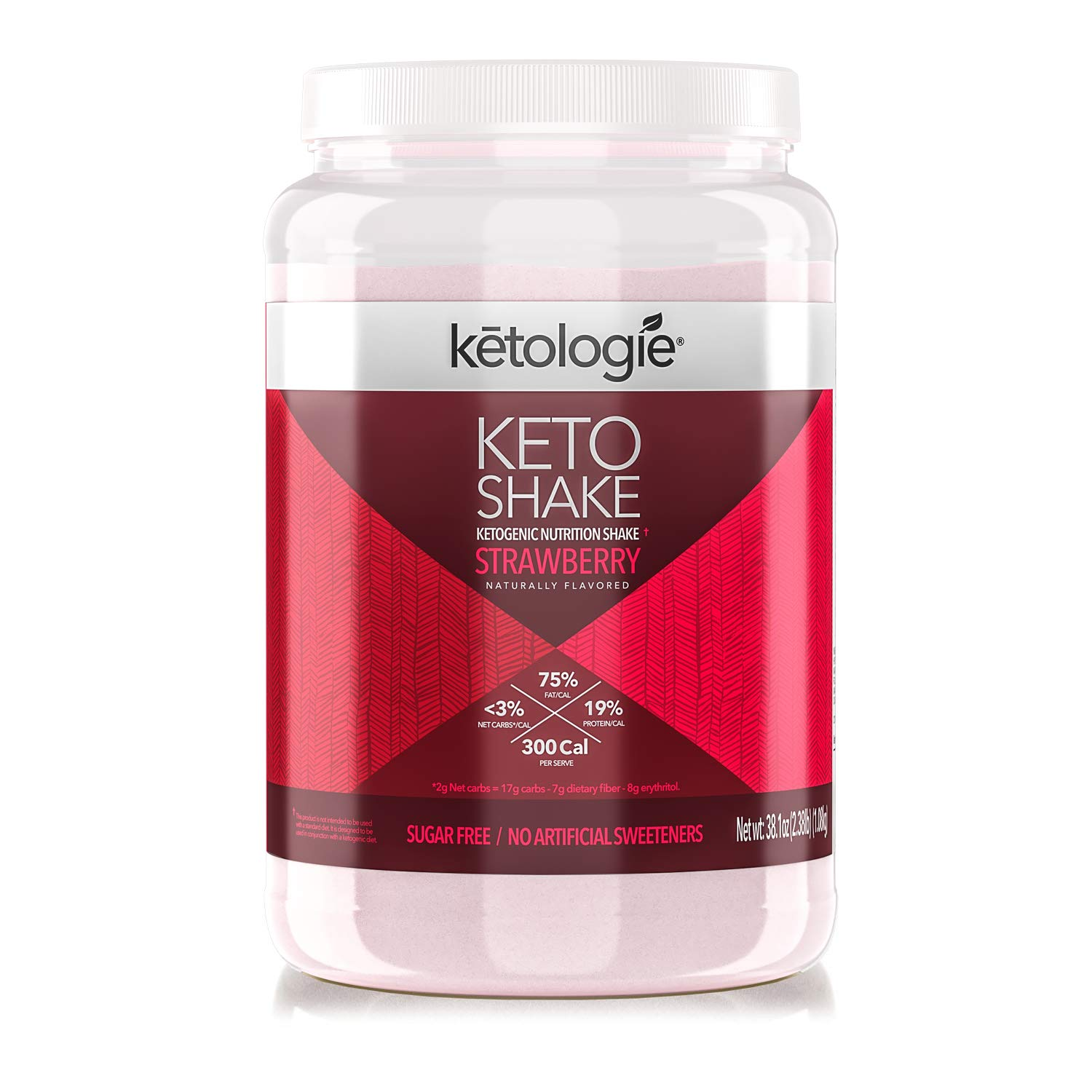 Ketologie Ultra Low Carb Protein Shake, High-Fat Keto Meal Replacement (Strawberry) by Ketologie