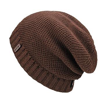2fc828bbca9e5a OMECHY Unisex Slouchy Beanie Hats Winter Warm Knit Hat Skull Ski Cap 4  Colors - Brown