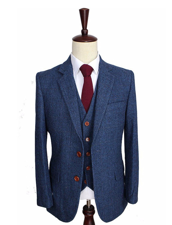Lilis® Men's Slim Fit Suit Blazer Jacket Tux Vest & Trousers 3-piece Suit Set LL17062901