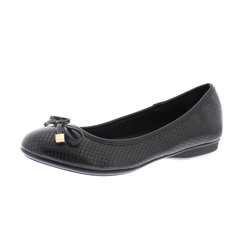 Gold Toe Malorie Womens Comfortable Memory Foam Ballet Flat Shoe,Work Comfort Dress Flats Low Wedge Pump for Women Black 9W US