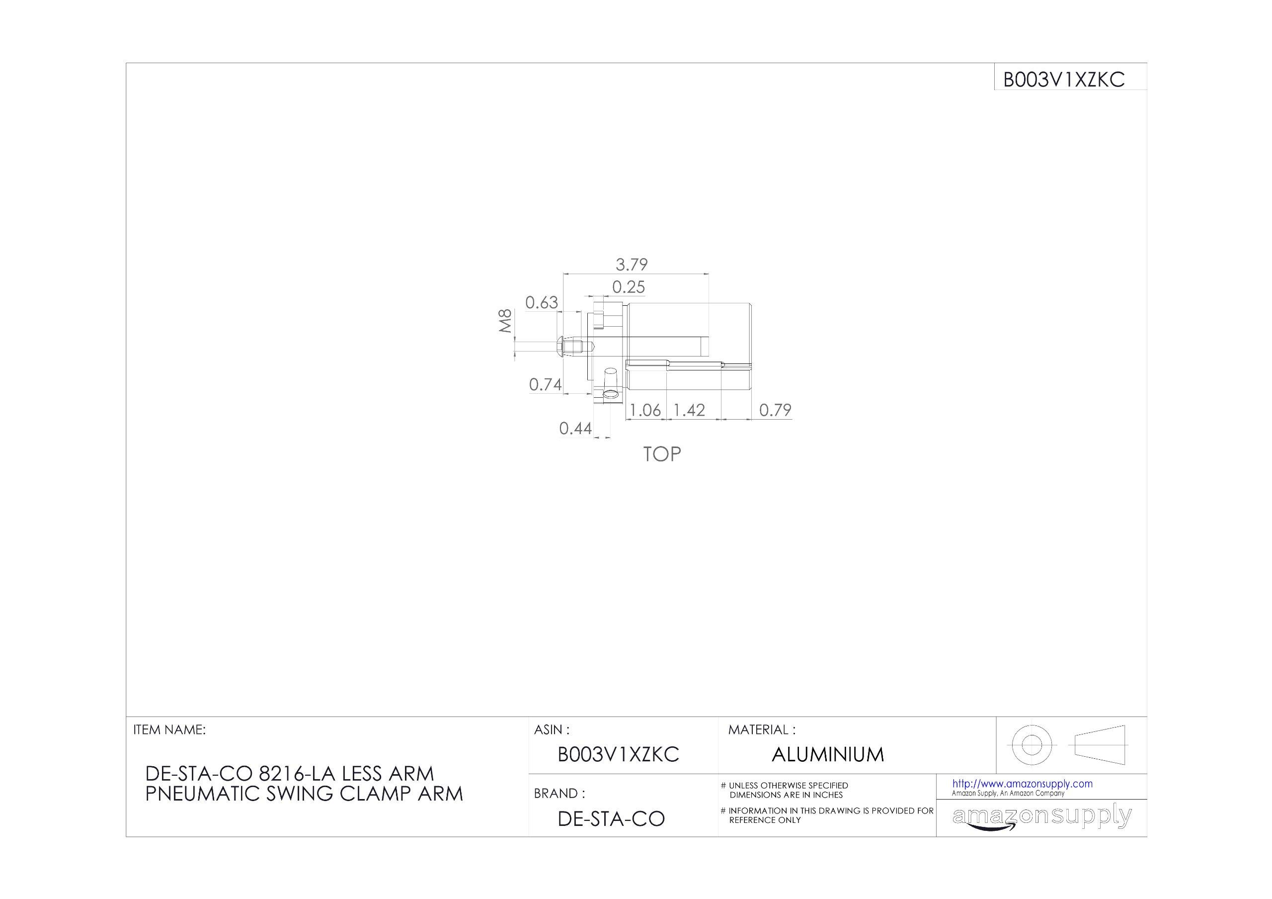 DE-STA-CO 8216-LA Less Arm Pneumatic Swing Clamp Arm by De-Sta-Co