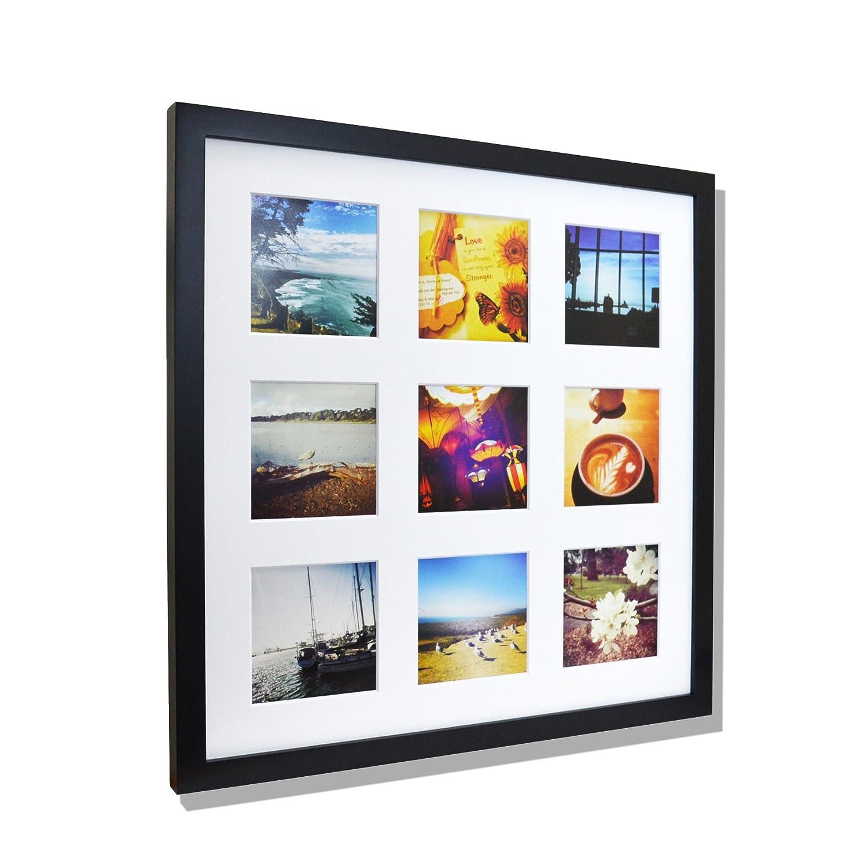 16x16 Gold Aluminum Metal Frame with Ivory Mat - Displays Nine 4x4 ...