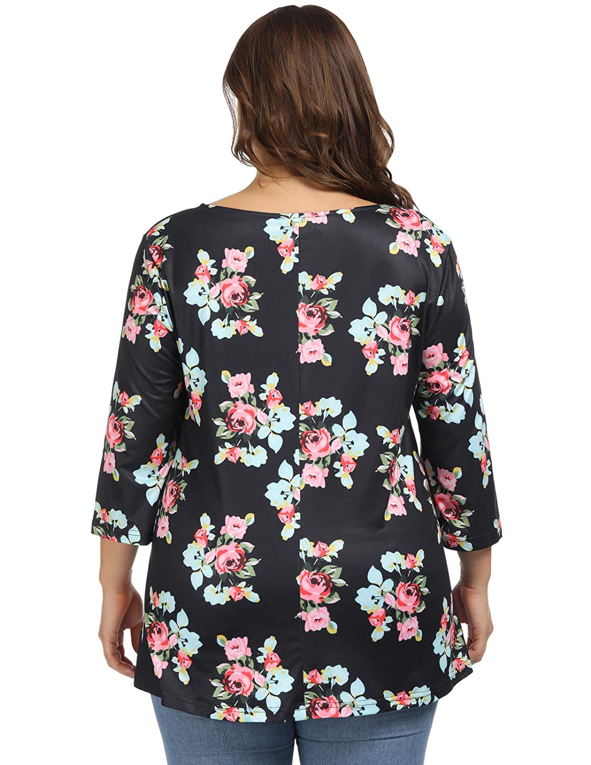 ded4afa36 Hanna Nikole Women's Plus Size Swing Tunic Top 3/4 Sleeve Floral Flare  Casual T-Shirt at Amazon Women's Clothing store: