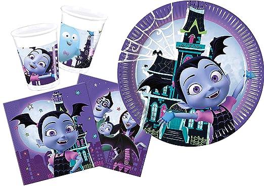 CAPRILO Lote de Cubiertos Infantiles Desechables Vampirina (16 Vasos, 16 Platos y 20 Servilletas) .Vajillas y Complementos. Juguetes para Fiestas de ...