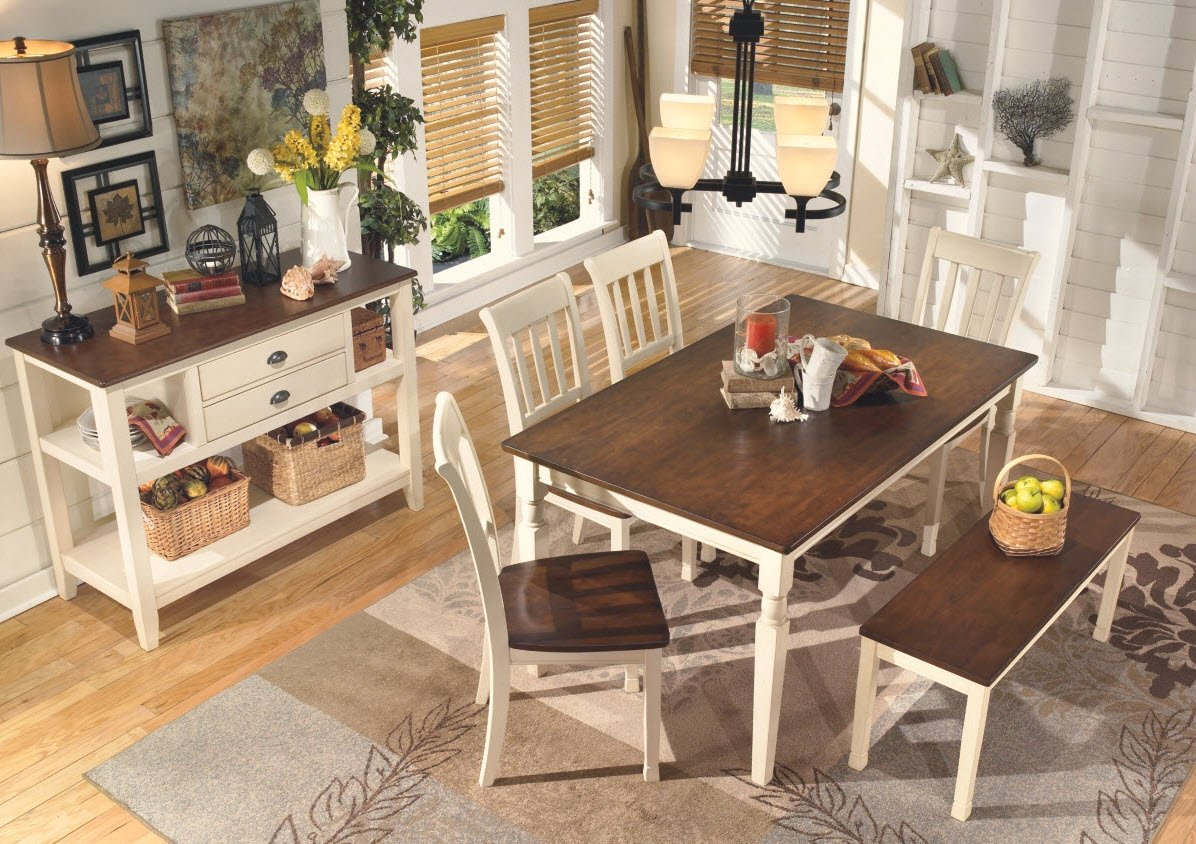 Ashley Furniture Signature Design - Whitesburg Large Dining Bench - Rectangular - Vintage Casual - Brown/Cottage White
