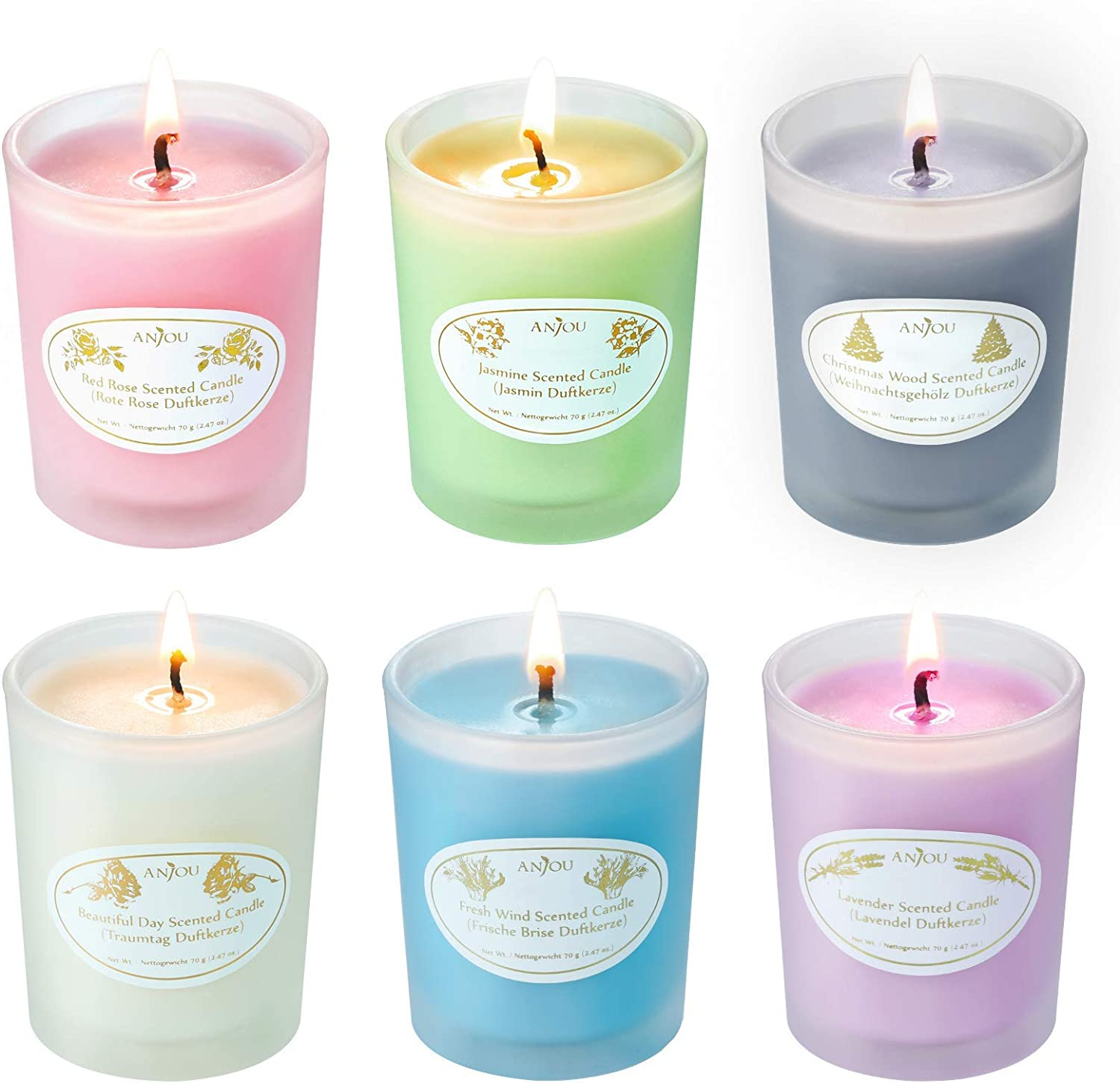 Anjou Scented Candles Gift Set, Christmas Candle (Pack 6) £9.99 w/code GII9CTD4 @ Amazon