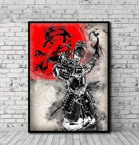 UDIYXC Cartel de Samurai japonés Cuadro en Lienzo Arte de la ...