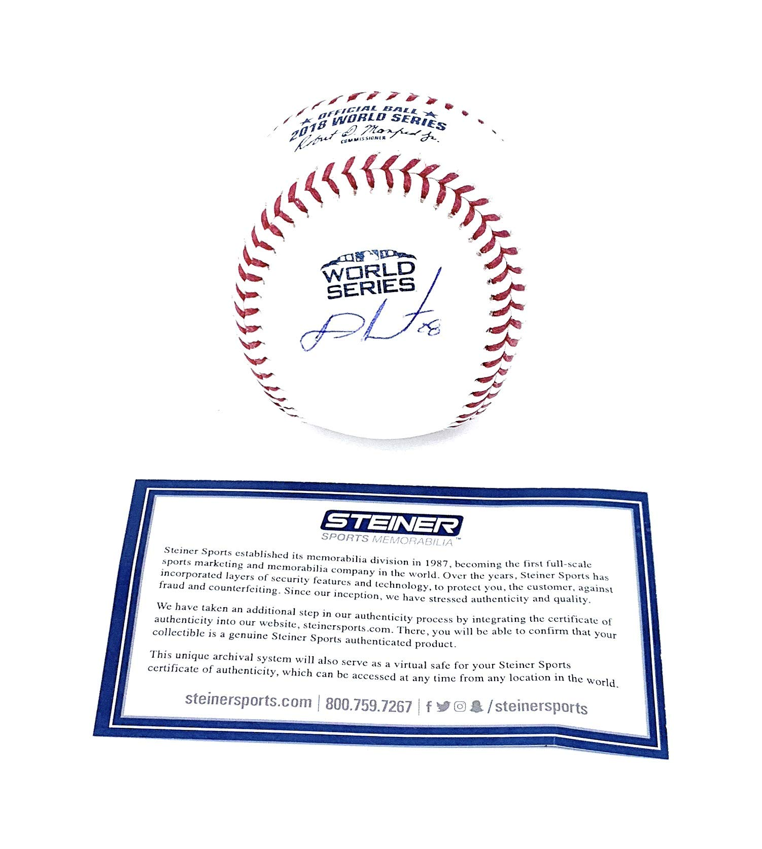 JD Martinez Boston Red Sox Signed Autograph Official WORLD SERIES MLB Baseball Steiner Sports Certified