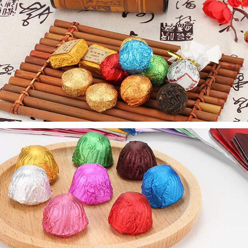 de Regalos Envoltorios T/é Envasado Az/úcar Papel de Envolver Decoraci/ón de Regalo (8 colores) Aluminio Papel De Envolver BESLIME-800 Pcs Chocolate Candy Envoltorios Papel