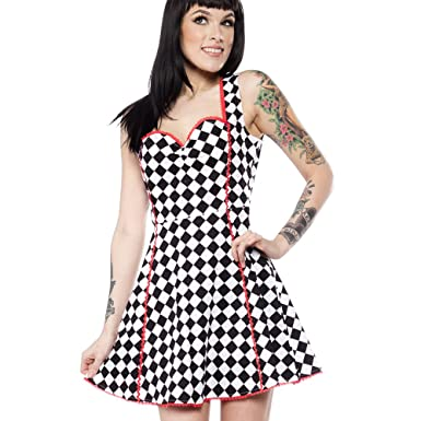 Sourpuss Clothing Goth Mini Skater Dress Lucille Check Speed Queen ... f72560e90