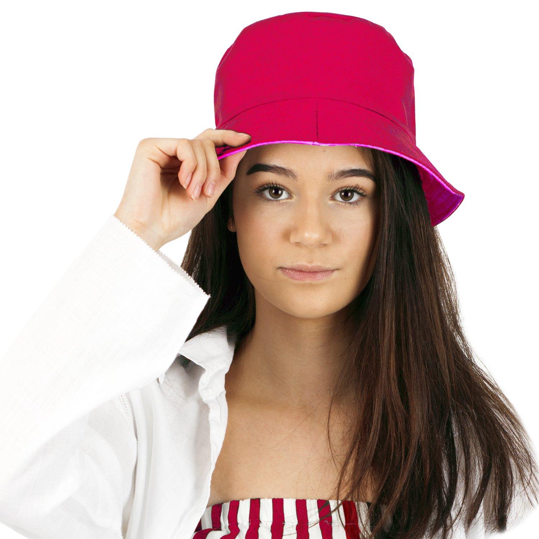 Ladies Women/'s Reversible Cotton Bucket Sun Hat TOSKATOK UPF 50 2 Hats in 1