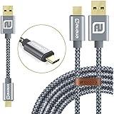 AUAUA 【12cm&1.5m】高級USB 3.0 Type Cケーブル高速データ転送/充電 USB 3.0 QuickCharge 対応 タイプCケーブル ニンテンドーswitchなどType-C機器対応 [無料交換] (Type C 2 Pack 3.0, グレー) (Type C 2 Pack 3.0, グレー)