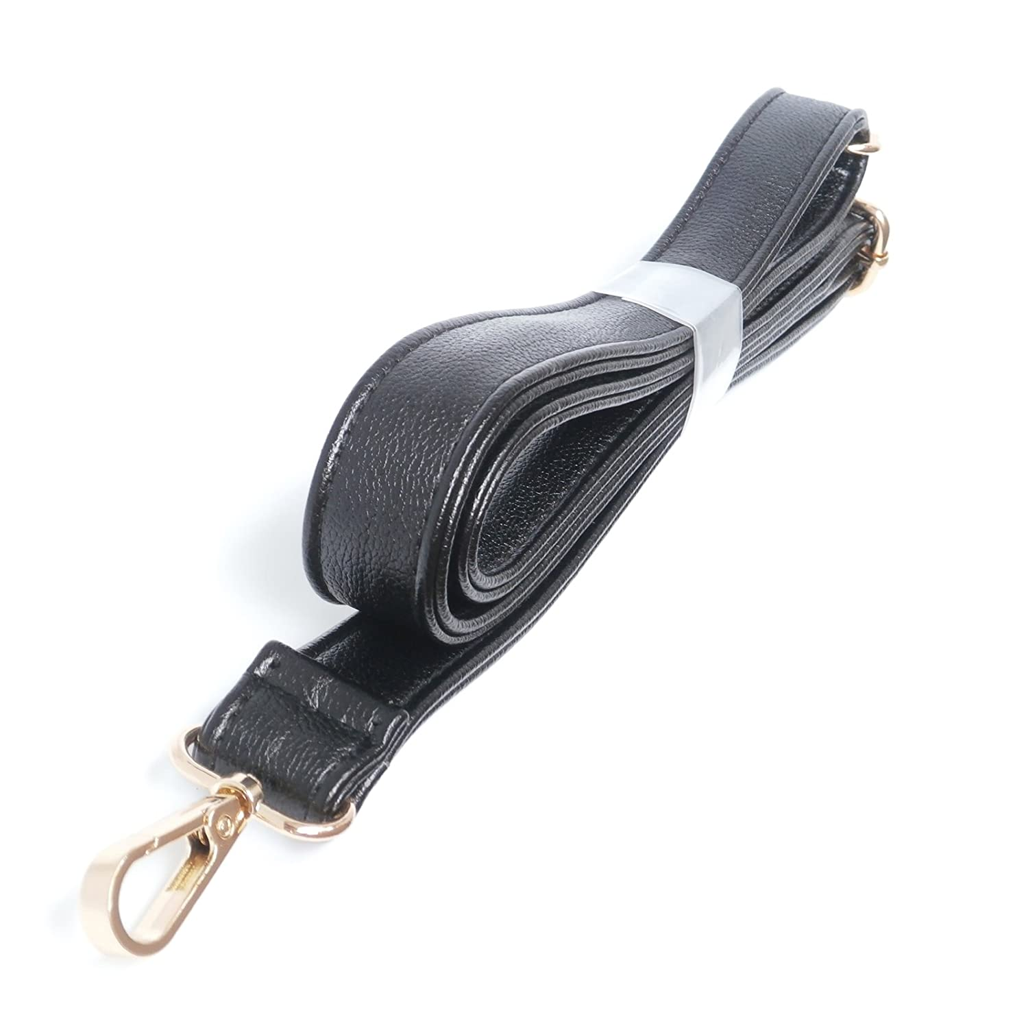(Golden Clasps) Black 25mm Width Pu Leather Female Messenger Purse Strap Bag Accessories Shoulder Bag Straps Length 49.2 Inches Grace Young