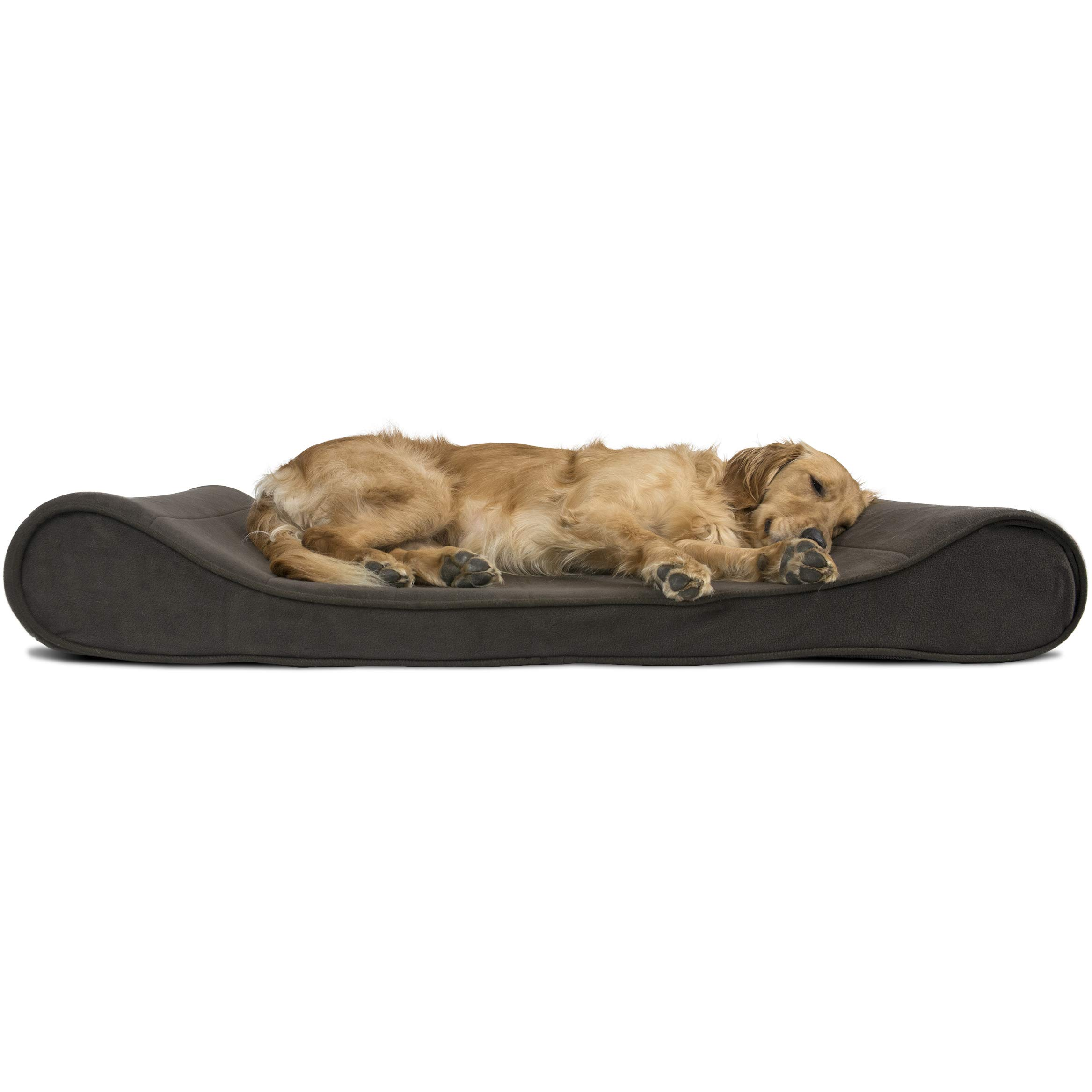 FurHaven Pet Dog Bed   Orthopedic Microvelvet Luxe Lounger Pet Bed for Dogs & Cats, Espresso, Jumbo