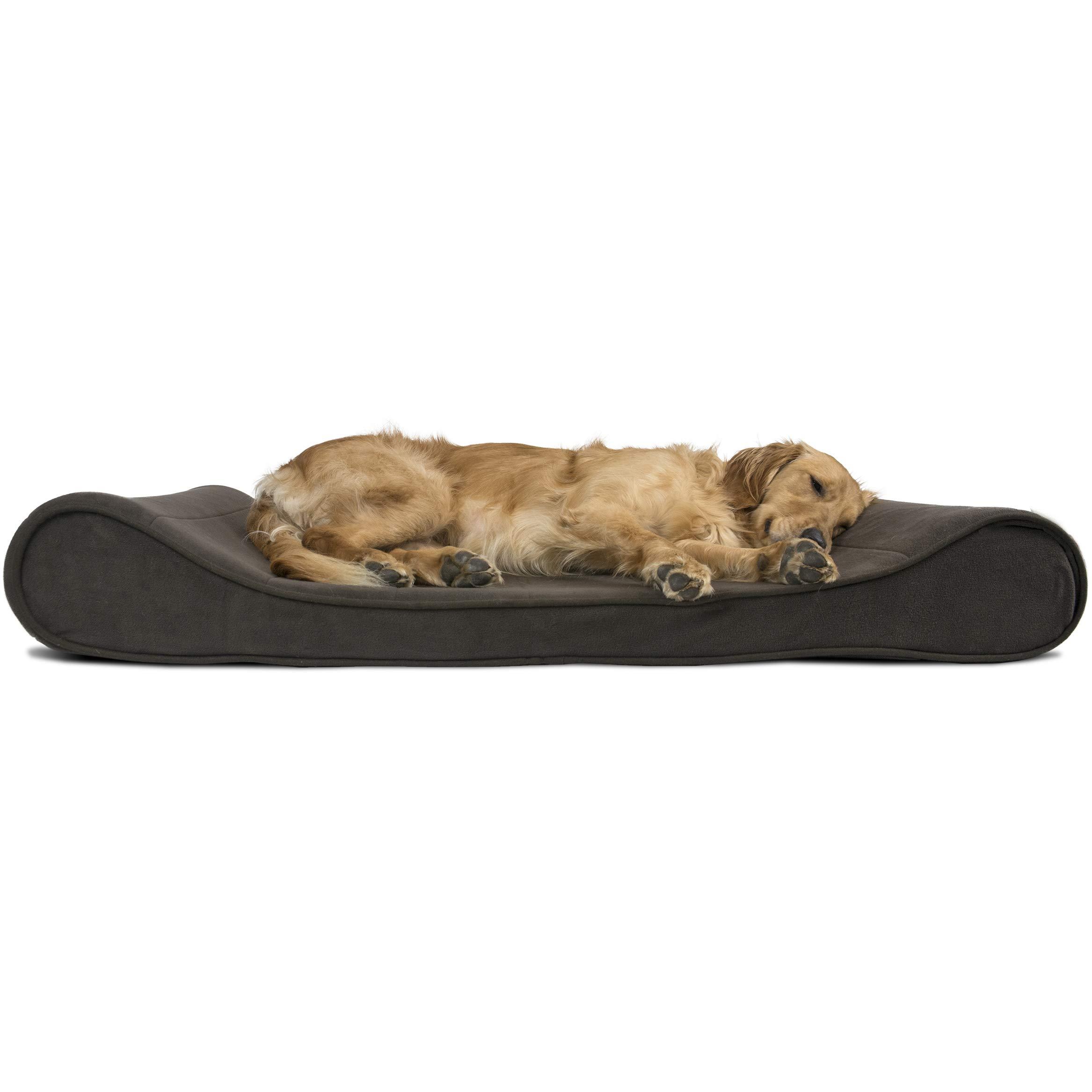 Furhaven Pet Dog Bed | Memory Foam Micro Velvet Ergonomic Luxe Lounger Cradle Mattress Contour Pet Bed for Dogs & Cats, Espresso, Jumbo