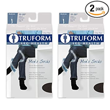 Truform Mens 15-20 mmHg Knee High Cushioned Athletic Support Compression Socks, White,