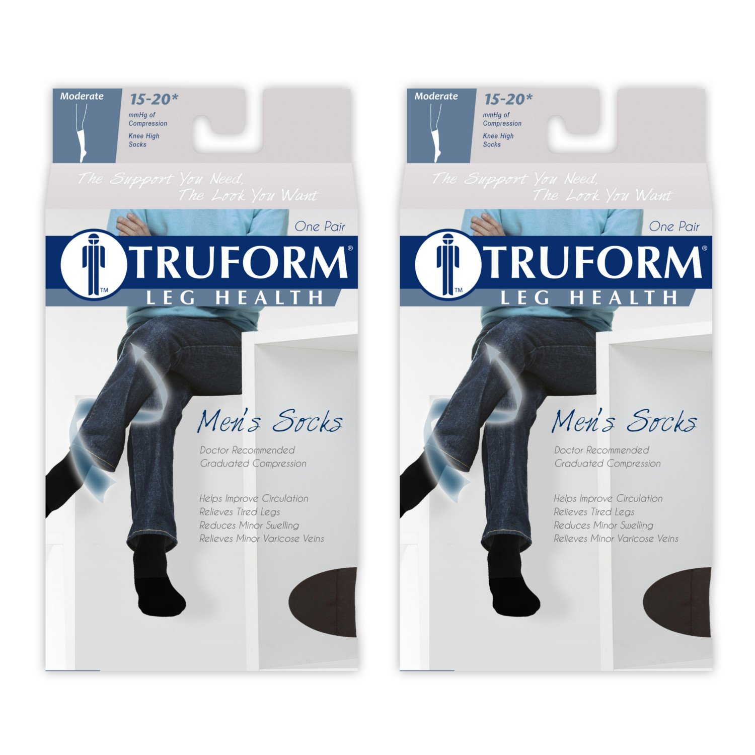 Truform Mens 15-20 mmHg Knee High Cushioned Athletic Support Compression Socks, Black,