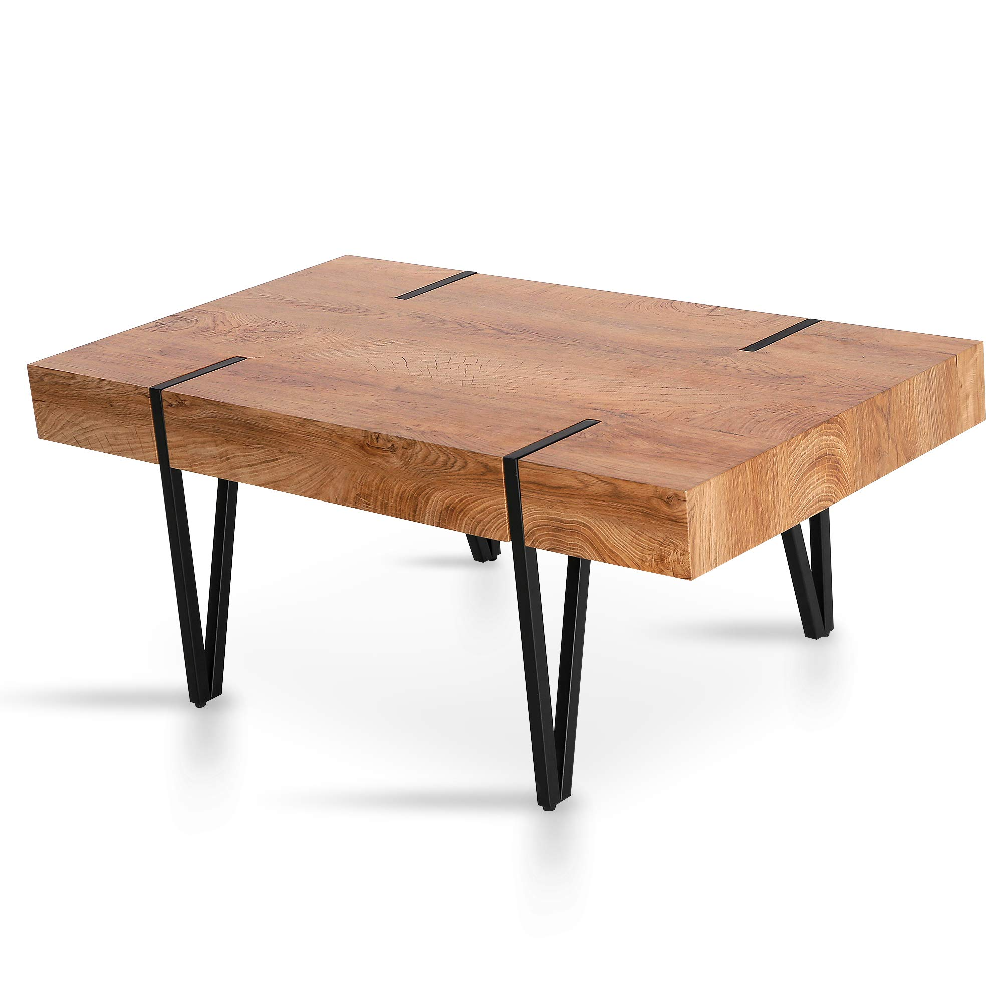 Mcombo Modern Industrial Coffee Table for Living Room Mid-Century Rustic Plant Table Top Sofa Table 42x24x17inch by MCombo