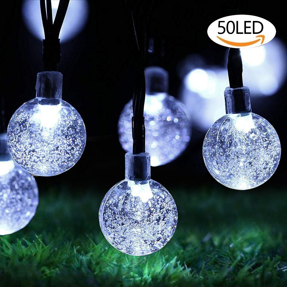 Cooolla 50 LED Solar String Lights Outdoor Waterproof Solar Powered Garden Lights 10m Crystal Ball Decorative Lighting for Garden, Patio, Yard, Bedroom, Christmas,Wedding, Tree,Parties Multi-Colored [Energy Class A+++]