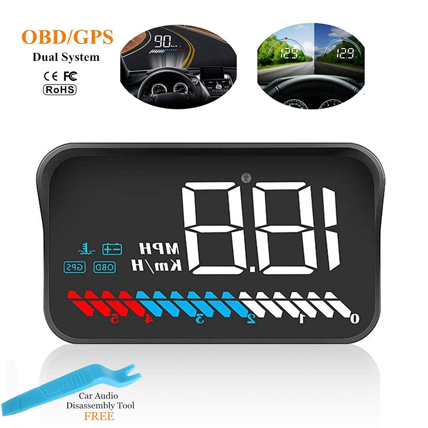 ACECAR Car Universal Dual System HUD Head Up Display OBD II/GPS Interface,Vehicle Speed MPH KM/h,Engine RPM,OverSpeed Warning,Mileage Measurement,Water Temperature,Voltage by ACECAR