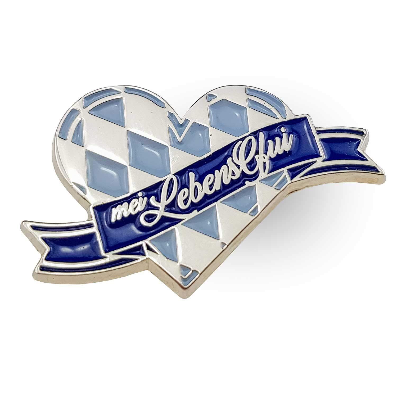 Bavariashop Pin Mei LebensGfui; Trachten Schmuck bayerische Geschenkidee