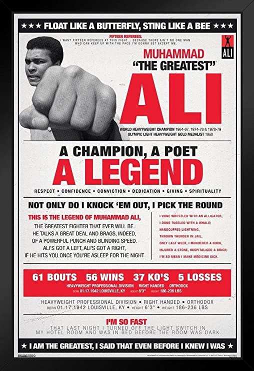 Pyramid America Muhammad Ali Vintage Style Boxing Sports Framed Poster 14x20 inch