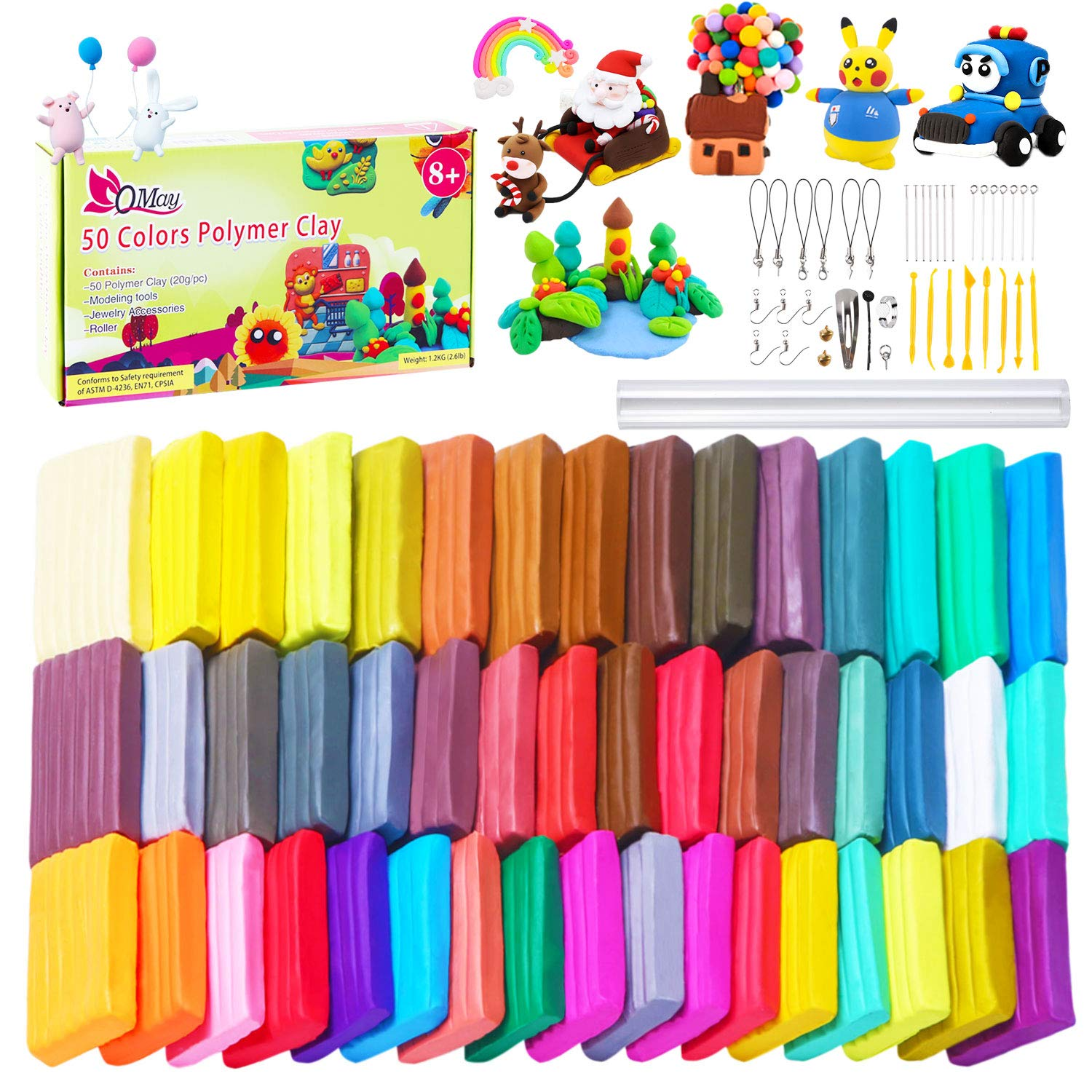 QMAY 50 Colors Polymer Clay Set, DIY Colored Clay Oven Bake Clay kit, Great Gift for Kids