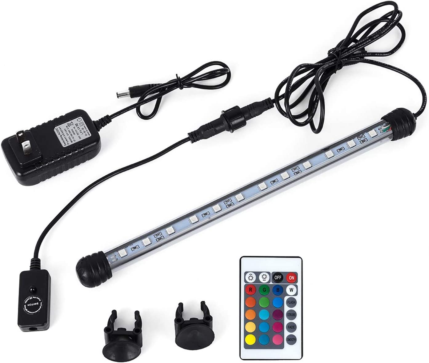 MQ 8-20 in Submersible LED Aquarium Light, Color Changing Fish Tank Light with Remote Control, IP68 Crystal Glass LED Lights Bar, for Fish Tank 10-35 inch