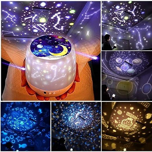 XNGDD Proyector De Luz Nocturna Star Moon Sky Lámpara De Cabecera ...