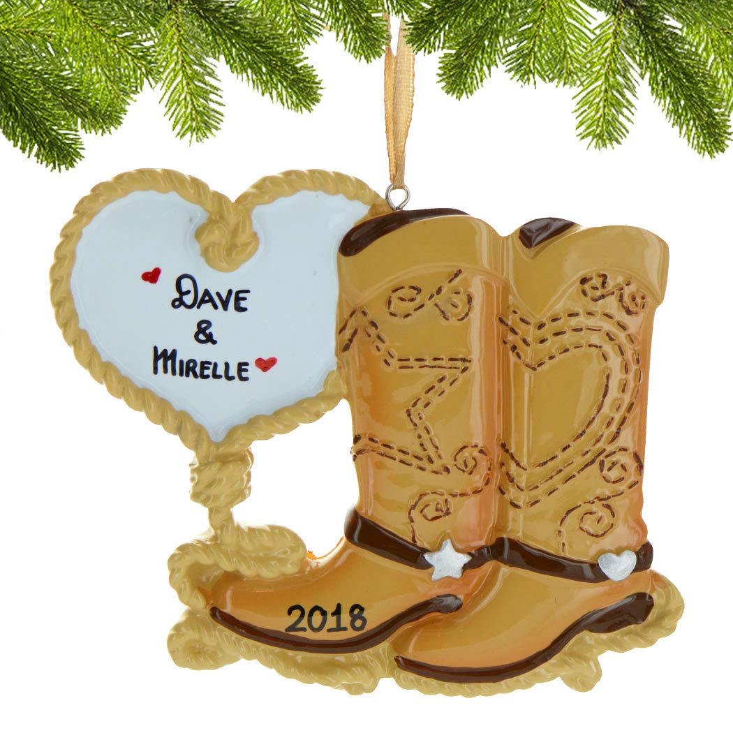 ca0d952eb06 Amazon.com: Personalized Cowboy Boot Couple Christmas Tree Ornament ...