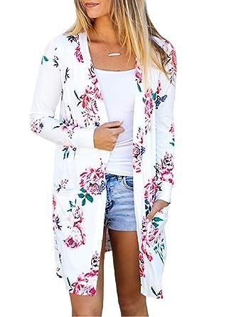 709cc73126f68 Cardigan Tricot Femme Boheme Hippie Chic Gilet Imprimé Fleur Châle  Sweat-Shirt Tunique Irrégulier Manteau
