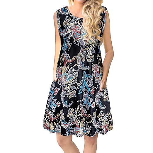 36c73fd3b4e3f5 Alluing Women s Summer Casual Sleeveless Floral Printed Swing Dress Sundress  with Pockets at Amazon Women s Clothing store