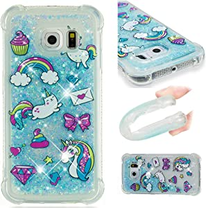 Asdsinfor Galaxy S6 Edge Case Fashion Shiny Transparent Soft TPU Creative Cartoon Cute Quicksand with Shiny Flowing Liquid Cover for Samsung Galaxy S6 Edge Blue Unicorn YB-LS