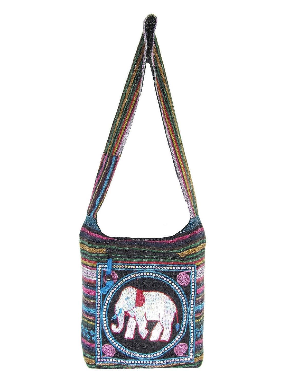 Punch Scarlet Embroidered Elephant Bag Aztec Crossbody Messenger Thai Hippie Boho Shoulder Handbag Medium