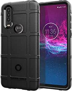 Case For Motorola One Action Black rugged shield Silicone