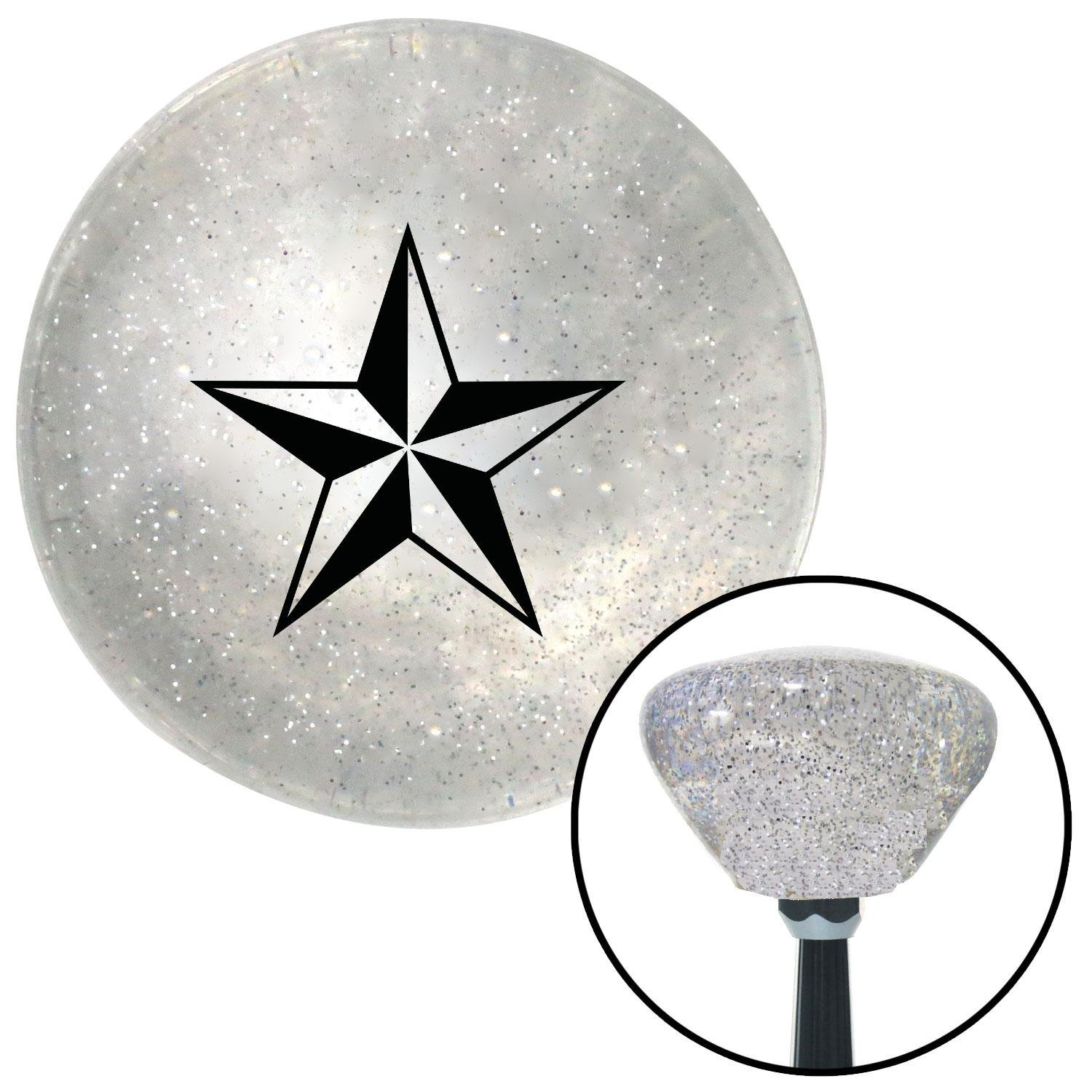 American Shifter 163356 Clear Retro Metal Flake Shift Knob with M16 x 1.5 Insert Black 5 Point 3-D Star