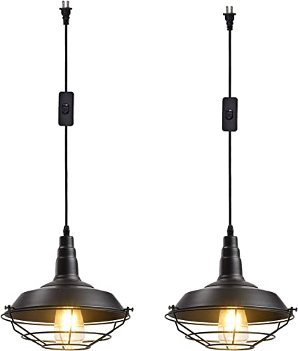 Ivalue Industrial Hanging Pendant Light with Plug in Cord Pack of 2 Black Cage Barn Pendant Lamps for Kitchen Dining Room DC-Black-Plug in -2