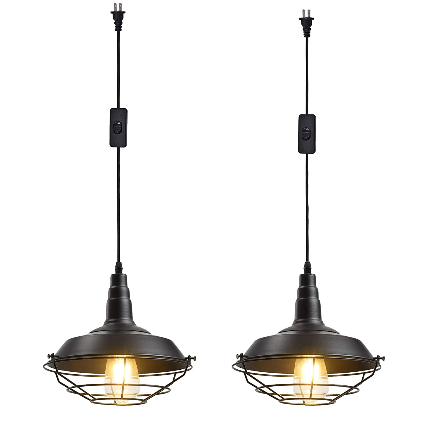 Ivalue industrial hanging pendant light with plug in cord pack of 2 black cage barn pendant lamps for kitchen dining roomdc black plug in 2