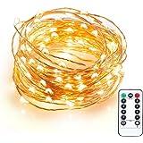SUCOOL LEDイルミネーションライト 電池式 10m 100球 リモコン付き 銅線ワイヤー ウォームホワイト 室内/屋外 防水/防滴LEDライト