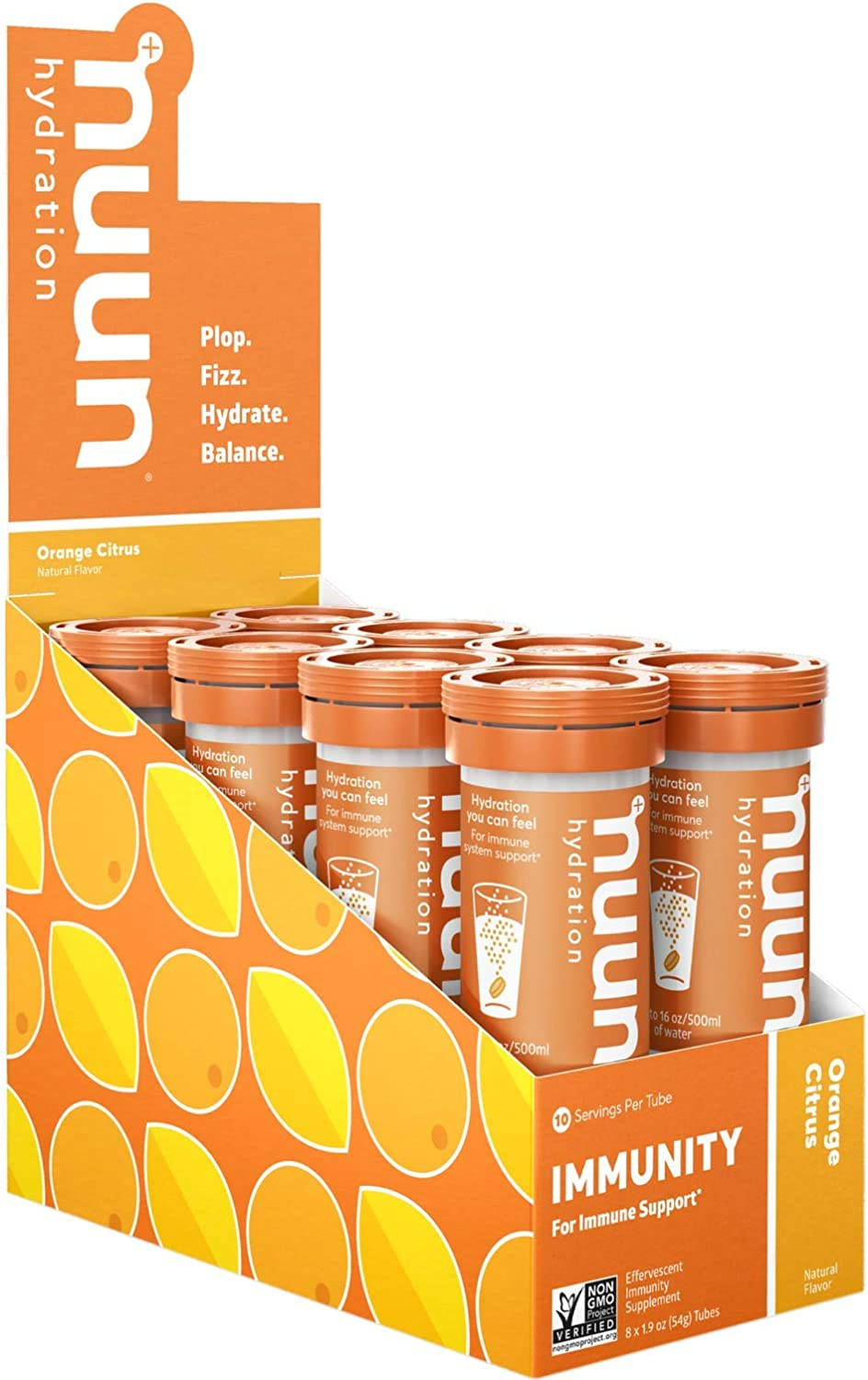 Nuun Immunity Antioxidant Immune Support Hydration Supplement with Vitamin C, Zinc, Turmeric, Elderberry, Ginger, Echinacea, and Electrolytes. Flavor Orange Citrus, 8 Tubes 80 Servings