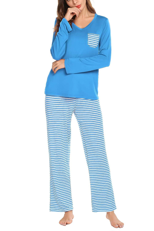 Lomon Donna Pigiama 2 Pezzi Pigiami Due Pezzi da Donna Estiva T-Shirt /& Pantaloncini Corti Casual