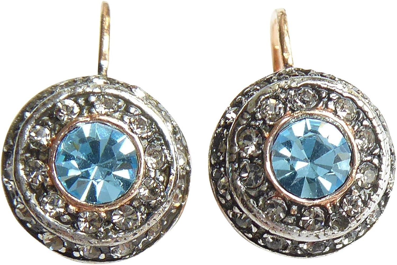 Pendientes de lujoso color azul claro con piedras brillantes y cierre de gancho de plata de ley chapada en oro rojo de 18 quilates, estilo modernista fabricado en Italia.