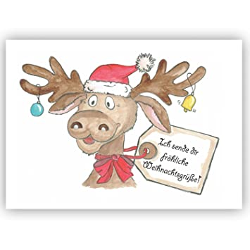 Weihnachtsgrüße Postkarte.Postkarte Elch Rentierich Sende Dir Fröhliche Weihnachtsgrüße Winter