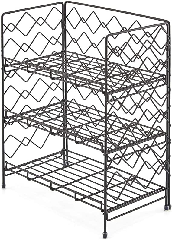 EZOWare Organizzatore Porta Spezie 3 Piani Mobiletto per Spezie Nero Scaffale Pieghevole a 3 Ripiani per la Cucina Bagno Lattine Barattoli di Spezie Ufficio