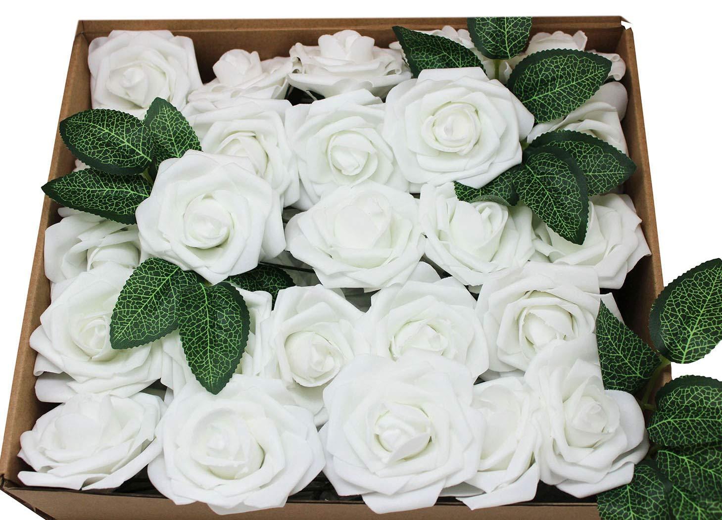 silk flower arrangements 50pcs artificial flowers rose real looking flower bouquets with stem for bridesmaid wedding party centerpieces arrangements decorations(white)